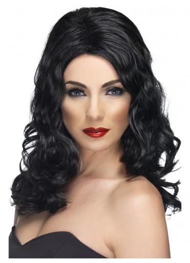 Black Long and Wavy Glamorous Costume Wig