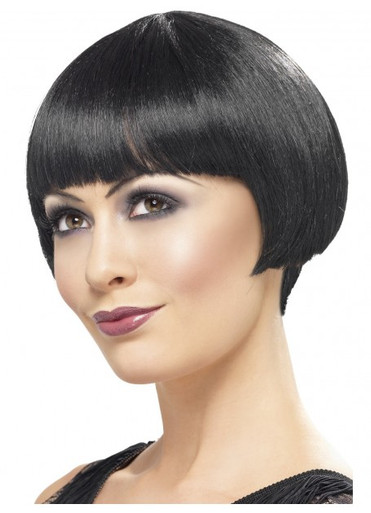 Black 20's Flapper Bob Costume Wig