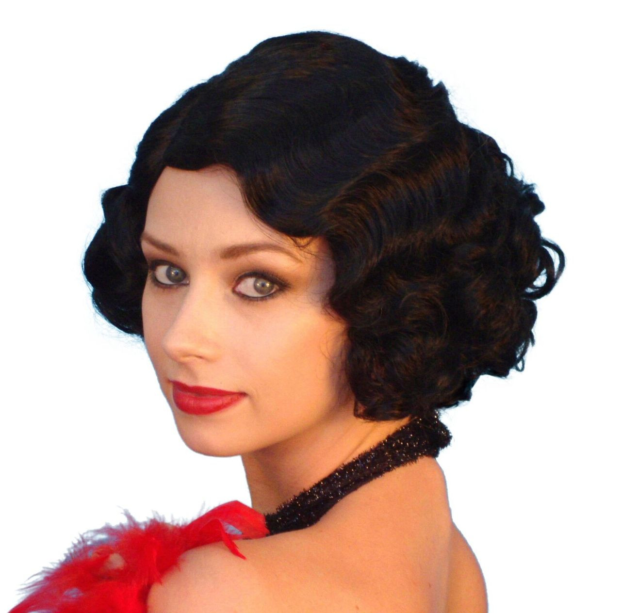 cabaret 1920s flapper black costume wig - the wig outlet