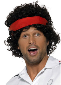 80's Tennis Brat Costume Wig & Headband