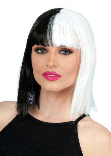 Sia Inspired Black & White Bob Costume Wig (High Quality) - by Allaura