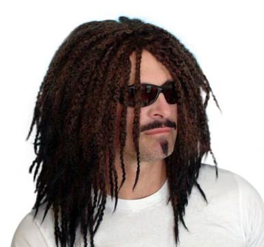 DELUXE Dark Brown Rasta Dreadlocks Mens Costume Wig