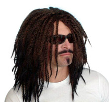 DELUXE Dark Brown Rasta Dreadlocks Mens Costume Wig