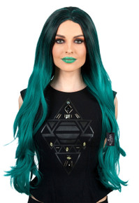 Hollywood Socialite (Kylie Jenner Inspired) Ombre Long Green Costume Wig (High Quality) - by Allaura