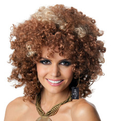 Foxy Babe 70's Brown Disco Afro Wig