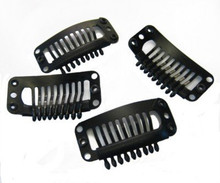 CLIPS - Large Black Wig / Extensions Snap Clips DIY use - Pack of 10
