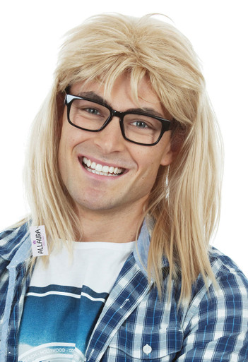 Waynes World Garth Algar Mens Blonde Wig & Glasses Costume Set - by Allaura