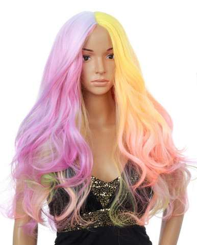 DELUXE Pastel Rainbow Long Fashion Wig - by Allaura
