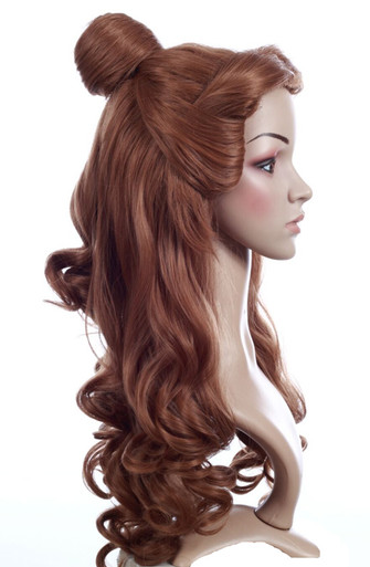 BELLE - DELUXE Beauty and the Beast Long Brown Bun Wig - by Allaura