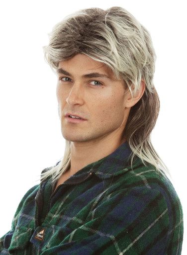 Two Tone Mens Redneck Mullet Costume Wig - by Allaura