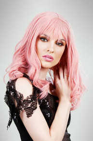 Pink Glamour Curls Womens Costume Wig - by Allaura