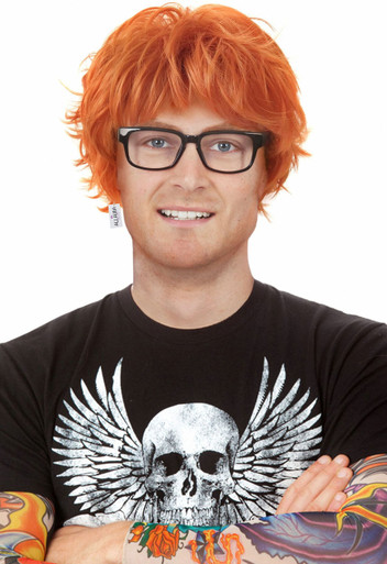 Red Ed (Sheeran) Orange Spiky Costume Wig with Glasses & Tattoo Sleeves