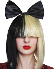 Pop Empress (Sia) Wig with Black Bow Half Blonde and Black Womens Costume Wig - by Allaura
