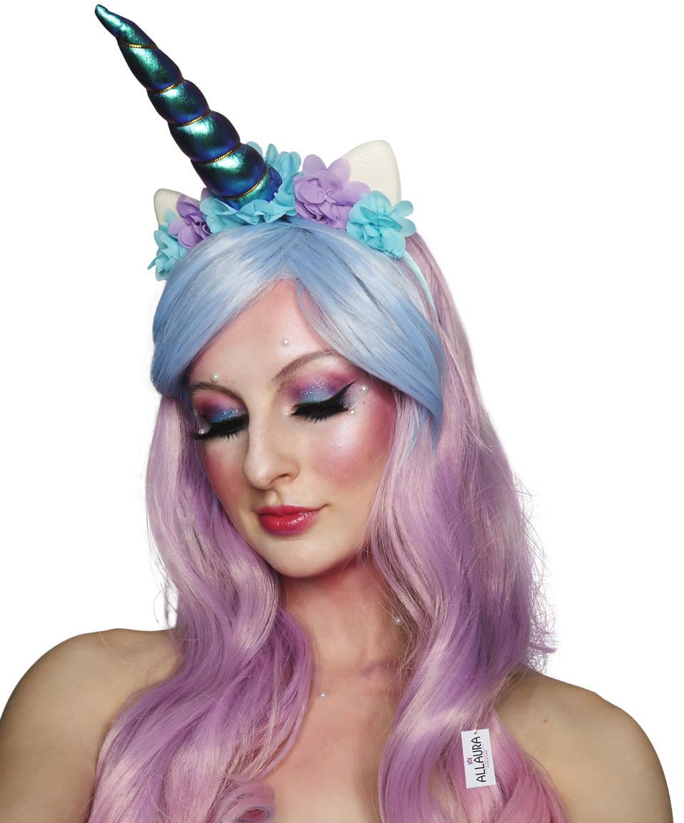 Unicorn Beauty Wig with Horn Headband - Pink Purple Blue Waves ... 66eba7dbbe