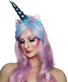 Unicorn Beauty - Pink, Purple, Blue Waves Womens Costume Wig with Horn Headband  - by Allaura