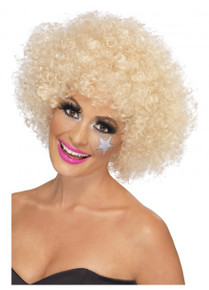 Kath n Kim Blonde Permed Afro 70's Costume Wig