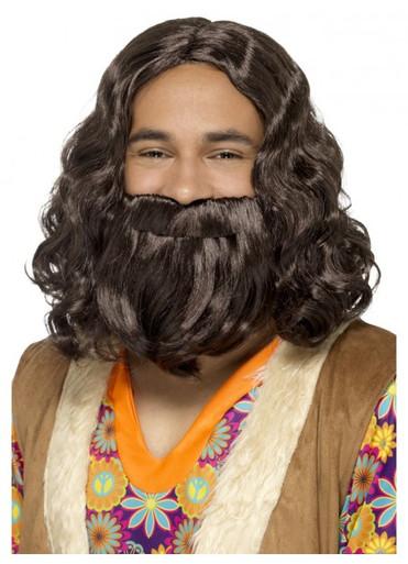 Jesus, Hagrid, Hippie 70's Brown Beard and Wig Costume Set