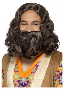 Jesus, Hagrid, Hippie 70's Brown Beard and Wig Costume Set