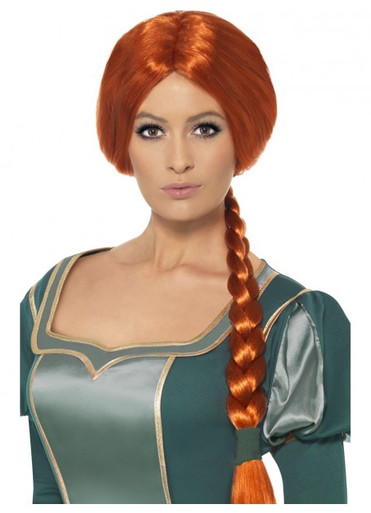 Princess Fiona Shrek Medieval Auburn Plait Costume Wig