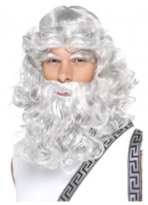 Zeus Grey Beard, Wig and Eyebrows Costume Set