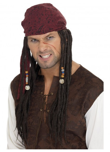 Pirate Wig & Scarf with brown plaits