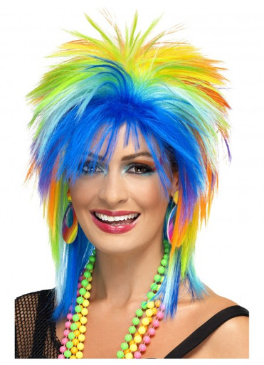 80's Rainbow Spiky Mullet Costume Wig