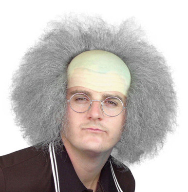 Beetlejuice, Old Man, Einstein Bald Cap & Grey Frizzy Hair Costume Wig