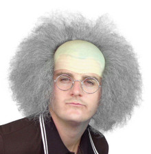 Beetlejuice, Old Man, Einstein Bald Cap & Grey Frizzy Hair Costume Wig