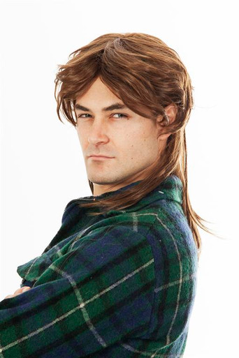 80s Mullet Wig Brown Mens Costume Wig - by Allaura