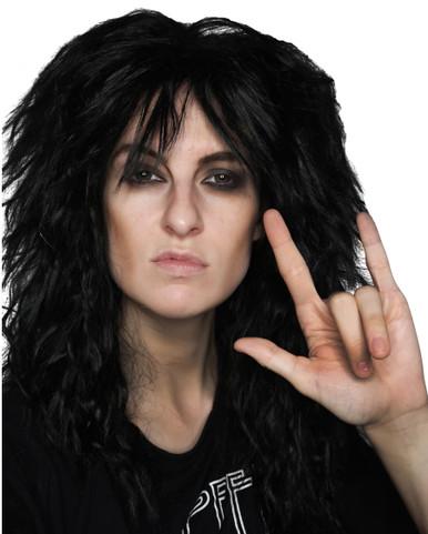 80's Black Glam Rock God Mens Rocker Costume Wig - by Allaura
