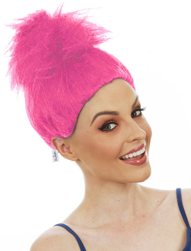 Pink Fluffy Troll Wig Doll Gnome Womens Kids Costume Wigs