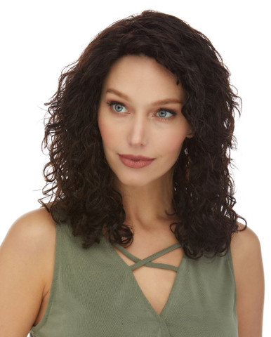ARLENE- 100% Brazilian Remy Human Hair Natural Curls Black Wig - By Elegante