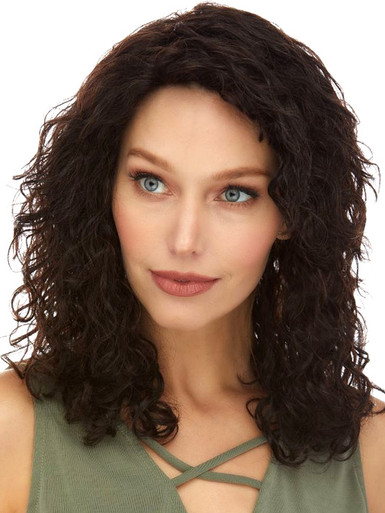 ARLENE- 100% Brazilian Remy Human Hair Natural Curls Black Wig - By Elegante