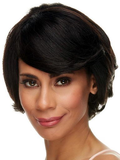 BETH - 100% Remy Human Hair Short Black Layered Pixie Wig - by Elegante
