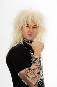 80's Mens Heavy Metal Rocker Wig Blonde Costume Wigs - by Allaura