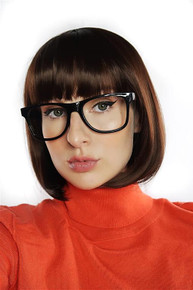 Velma Scooby Doo Brown Bob Costume Wig & Glasses - by Allaura