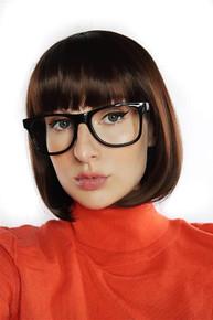 Velma Scooby Doo Brown Bob Costume Wig & Glasses - by Allaura