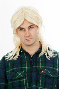 80s Mullet Wig Platinum Blonde Mens Costume Wig - by Allaura