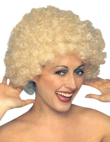 Kath n Kim Permed Blonde Afro 70's Costume Wig