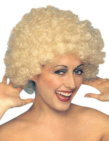Kath n Kim Permed Blonde Afro 70's Costume Wig