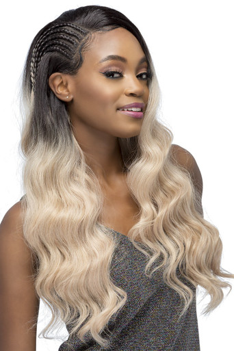 """YESICA - 26"""" LAYERED BODY WAVE WITH INVISIBLE SIDE CORNROW BRAID - by Vivica Fox"""