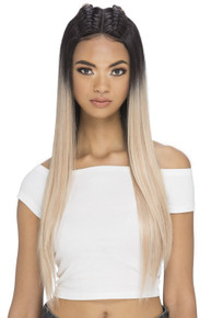 "RAINA - 29"" LAYERED STRAIGHT WITH TWO BRAIDS ON TOP & INVISIBLE OMEGA PART WIG- by Vivica Fox"