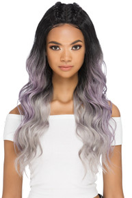 "BRIANA - 25"" LAYERED BODY WAVE WITH TWO BRAIDS ON TOP AND INVISIBLE OMEGA PART WIG - by Vivica Fox"