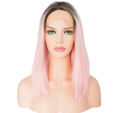 TAYLOR - Lace Front Ombre Light Pink Bob Wig - by Queenie Wigs