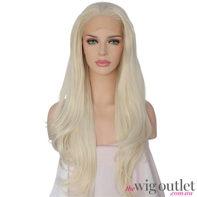 OCEAN - Lace Front Heat Resistant Long Platinum Blonde Curly Wig - by Queenie Wigs