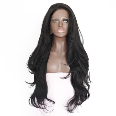 MIDNIGHT - Lace Front Lace Part Black Long Wavy 80cm Celebrity Wig by Queenie