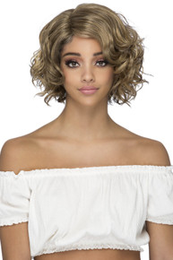 """GLADYS -  Heat Resistant Lace Front 11"""" Layered Curl Bob Wig - by Vivica Fox P2216"""