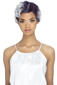 GRACELYN -  Heat Resistant Lace Front Short Fashion Finger Waves Wig - by Vivica Fox STTPP/WHT