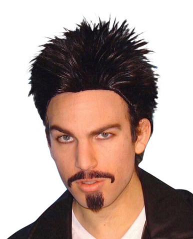 Black Short Spiky Mens Costume Wig