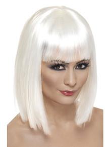 Short White Blunt Glam Wig